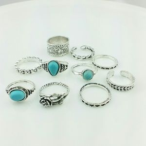 NEW Set of 10 Turquoise/Silver Look Rings J1-8